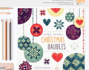 3 FOR 2. Clipart: Watercolor Christmas Decoration. Traditional Folk Art. Scandinavian Christmas, Holly, Xmas Nordic. Bauble Hanging Balls.