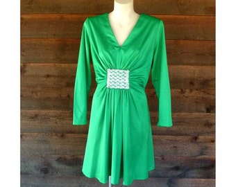 Vintage Green evening dress with sequinned waist gathered feature, homemade, 1970s