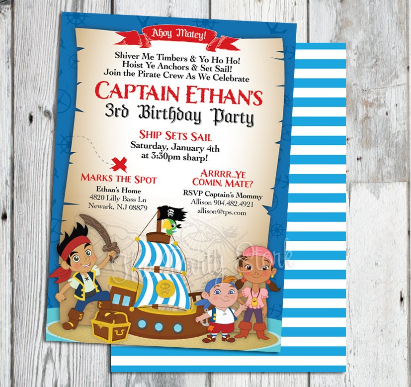 Jake and the Neverland Pirate Invitations Jake and the
