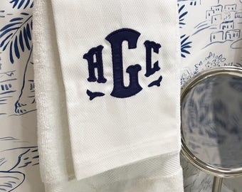 Monogram Applique Hand Towel / Guest Towel