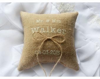 Burlap Wedding pillow , Mr & Mrs wedding pillow , ring bearer pillow, ring bearer pillow with Custom embroidery (R58)