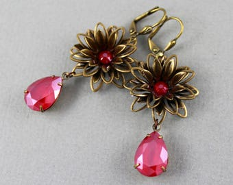 Shiny Royal Red Aster Flowers - vintage style antique brass and Swarovski crystal earrings