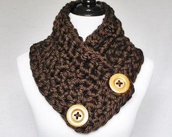 Brown Crochet Button Scarf, Chunky Button Cowl, Crochet Neck Warmer, Chocolate Wrap Scarf, Dark Brown