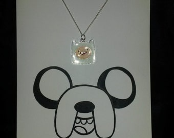 Adventure Time Inspired Jake Card with Matching Finn Necklace