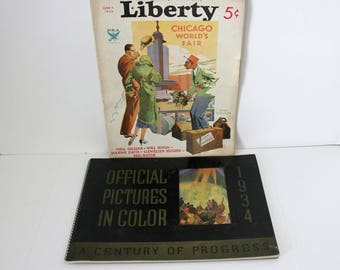 2 Chicago World's Fair 1934 Liberty Magazine and Picture Program