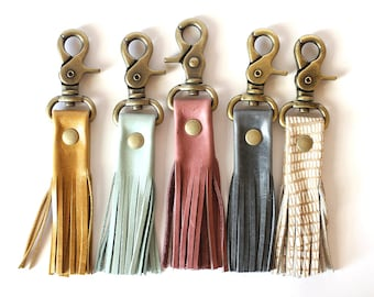 Leather Tassel Keychain - Leather Keychain - Key Fob - Tassel Keychain - Keychain - Keychains - Leather Tassel - Tassel - Tassels - Key Fobs