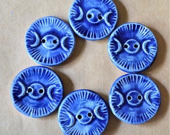 6 Handmade Ceramic Buttons - Triple Goddess Moon Buttons in Blue - Handmade Stoneware Buttons - Spiritual Artisan Focal Buttons