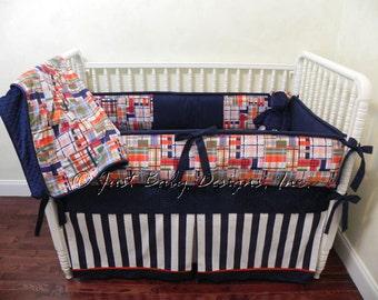 Nautical Crib Bedding Set Christopher -  Boy Baby Bedding, Multi - Colored Plaid with Navy Crib Bedding