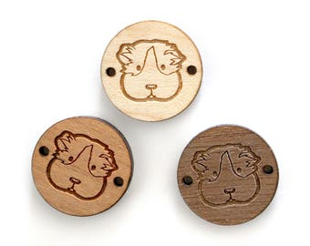 Embossed and laser cut guinea pig head, on round wooden piece for bracelet design - 3 wood shades available