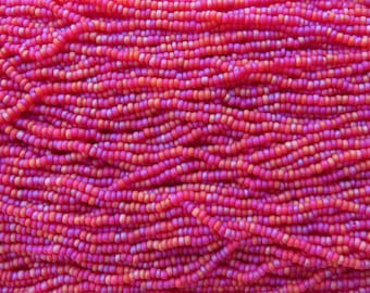 8/0 Matte Transparent Ruby AB Czech Glass Seed Bead Strand (CW55)