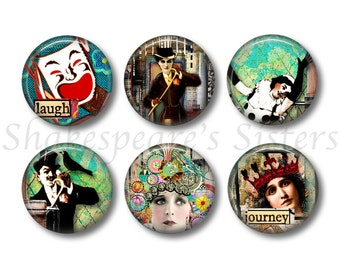 Altered Art Magnets - Fridge Magnets - Theater Magnets - 6 Magnets - 1.5 Inch Magnets - Kitchen Magnets