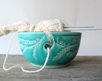ceramic yarn bowl, turquoise garland crochet bowl,  pottery wool bowl, wheelthrown yarn bowl, knitter's bowl, unique yarn bowl