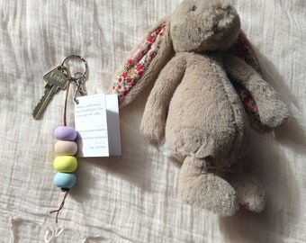 Pastel Keyring | Handmade Polymer Clay Beads