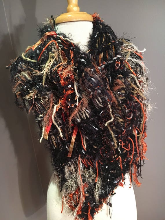 Fringed Fur-like Knit Poncho,  Dumpster Diva 'Full Throttle', Mixed fiber Fringed Wrap, Black Ponchos, Wraps, Harley Davidson colors, Boho