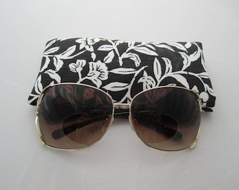 Sunglass / eyeglass case white floral print on black lined padded RTS