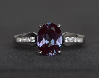 lab alexandrite engagement ring sterling silver color change gemstone ring oval cut June birthstone ring