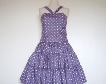 1950s/60s Vintage Lilac Silky Polka Dot  Prom Dress Small
