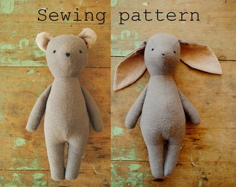 Bunny rabbit and bear soft toy / stuffed animal doll PDF sewing pattern, tutorial