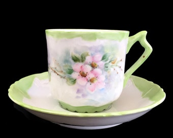 Mustache Teacup, Tea Cup and Saucer, Porcelain Cups, Vintage China 13863