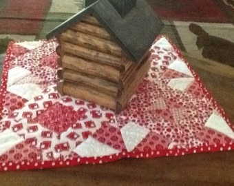 Handmade Quilted Red and White Table Topper 17 x 17 Centerpiece