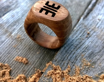 Handcarved ring with initials