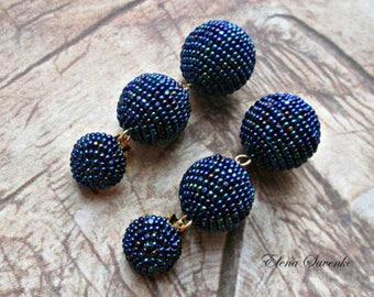 Peacock NAVY BLUE Ball drop earrings, Stud beads Dangle Earrings with three crochet balls, clip on earrings, ball drop ear/Bon Bon Earrings