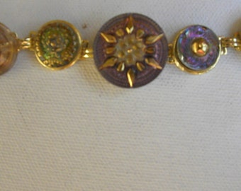 CZECH DRAGONFLY BUTTON Bracelet with Starburst Colorful