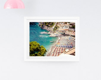 Aerial beach photography print - Nautical print, Italy beach photography, Positano, Amalfi Coast print