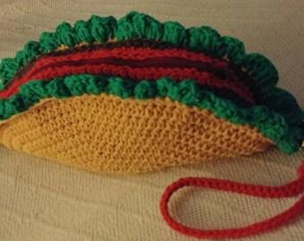 Taco Purse. Crochet Taco Clutch. Taco Handbag.