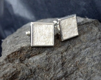 Creme white salmon leather cuff links, square classy cuff links, wedding cuff links
