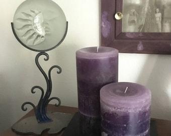 Lavender & Purple Pillar Candle Set