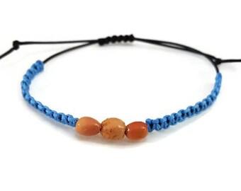 Mens bracelet, blue and black, macrame, size fits all, unisex, buri tube beads, gift for men, summer, summer, surf bracelet