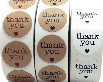 "1,500 Round Thank You Stickers, 1"" Inch Circle Stickers, Bulk Pack Adhesive Label on White and Natural Kraft Paper 