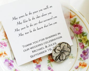 Irish Blessing / Wedding Party Favor / Pocket Clover