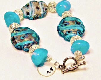 Blue Swirly Lampwork Bracelet With Silver, Acrylic Accent Beads And Toggle Clasp - Item 2