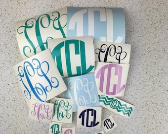 Mystery Pack of 16 Vinyl Decals in YOUR MONOGRAM - monogram decal - monogram pack - vinyl monogram - circle monogram - glitter monogram