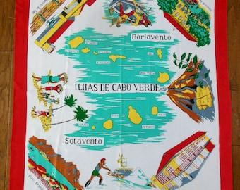 Beautiful Vintage Ilhas De Cabo Verde Souvenir Scarf