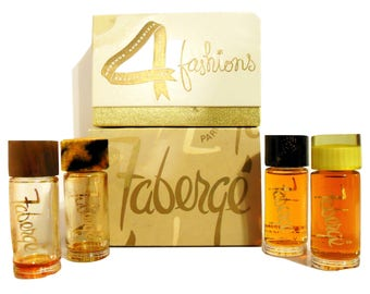 PERFUME Vintage 1950s Woodhue, Act IV, Tigress and Aphrodisia by Faberge 1/2 oz Cologne Quartette Set in Box