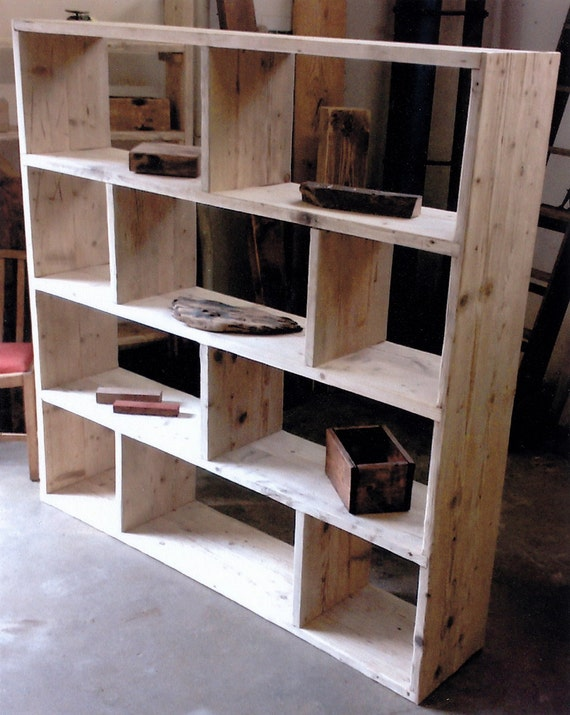 & Reclaimed wooden future rustic room Divider / Shelving Unit /