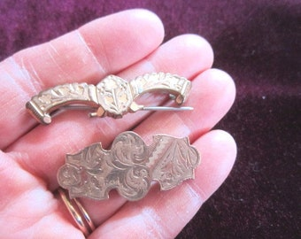 Antique 19c Victorian Lot of 2 Gold Fill Brooch Pins for Repair