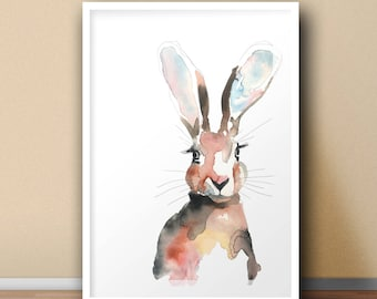 Heather the Hare — watercolour print — Gift Bedroom Wall Decor Wall Art Home Decor Animal Rabbit