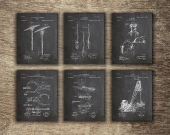 MIning Set of 6 Prints, Mining Wall Decor, Mining Pick, Mining Printable, Gift for Miner, Mining Group of 6 Patents - INSTANT DOWNLOAD -