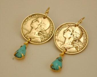 France Coin Jewelry Earrings