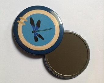 Dragonfly porthole pocket mirror 76mm
