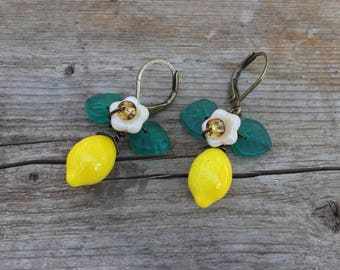 Yellow Lemon Earrings Dangles with leaves and a flower Czech Glass Earrings