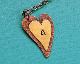 Hand Stamped Rustic Heart Necklace personalized copper brass initial charm pendant