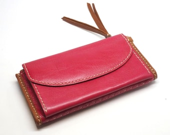 leather zip wallet for women, leather wallet clutch, leather wallet with coin pouch, billfold wallet, card holder wallet,leather long wallet