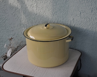 Vintage Yellow Porcelain Enamel Steel Canner Pot