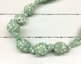 Organic Cotton Nursing Teething Necklace, Mint Dots