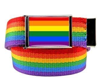 Rainbow Flag No H8 Flip Top Bottle Opener Belt Buckle with Canvas Web belt